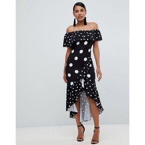 ASOS Flounce London Bardot Wrap Dress